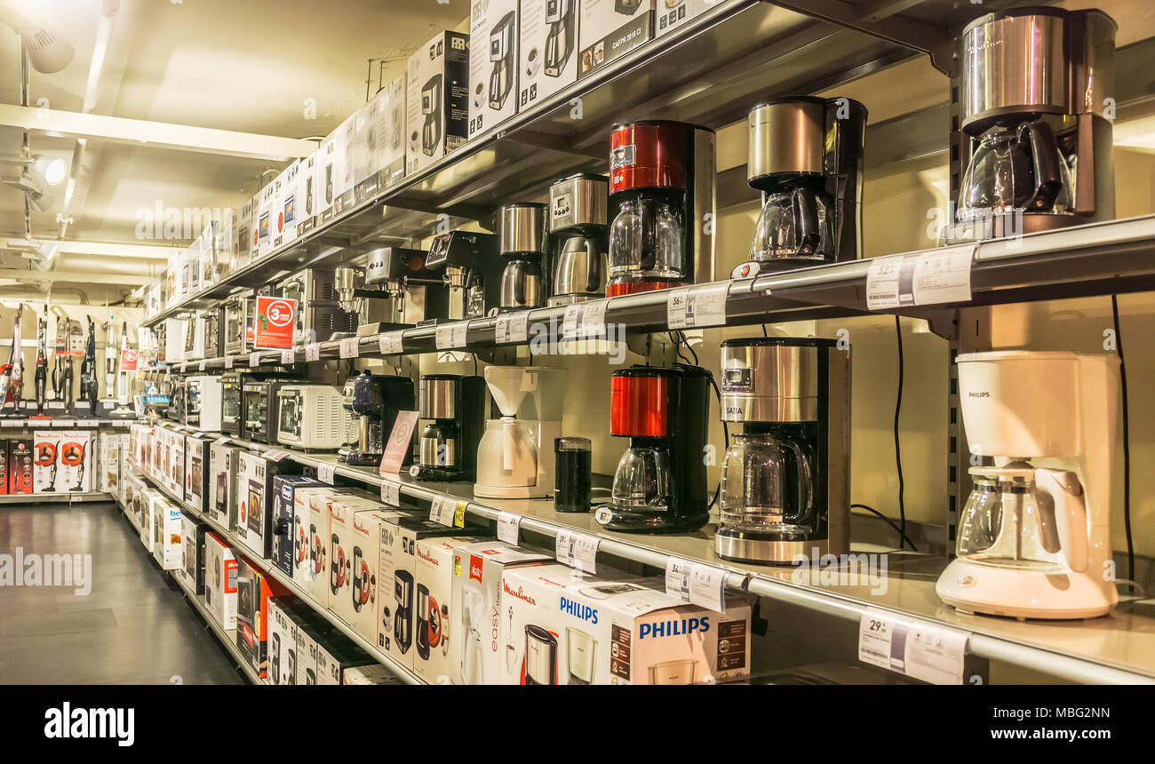 Display of kitchen appliances such as coffee machines or microwaves ...
