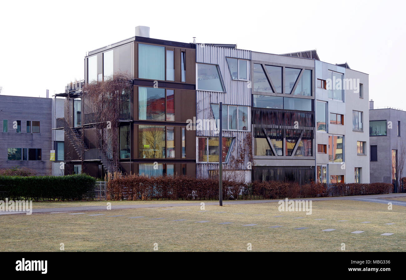 New upmarket residential buildings virtually on the line of the Berlin wall, and looking out over the former no-man's land. - Stock Image