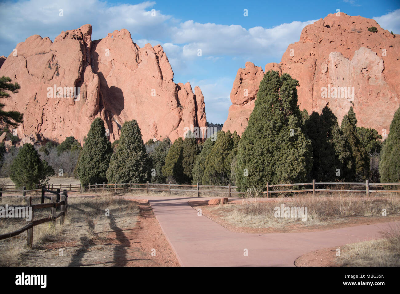 Popular bike and walking trail at Garden of Gods, Colorado Springs, CO - Stock Image