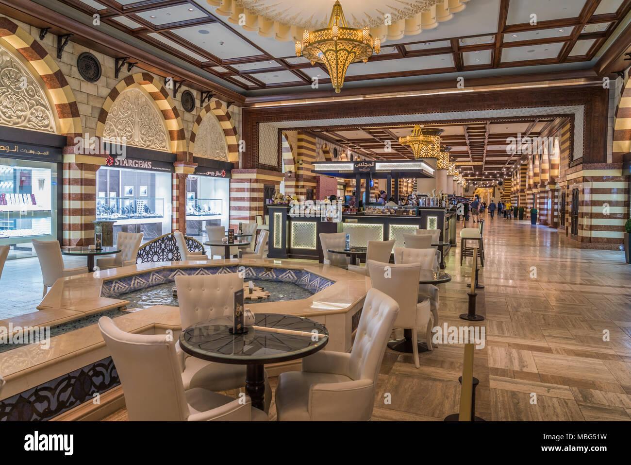 Decor of the Souq market in the Dubai Mall in downtown Dubai