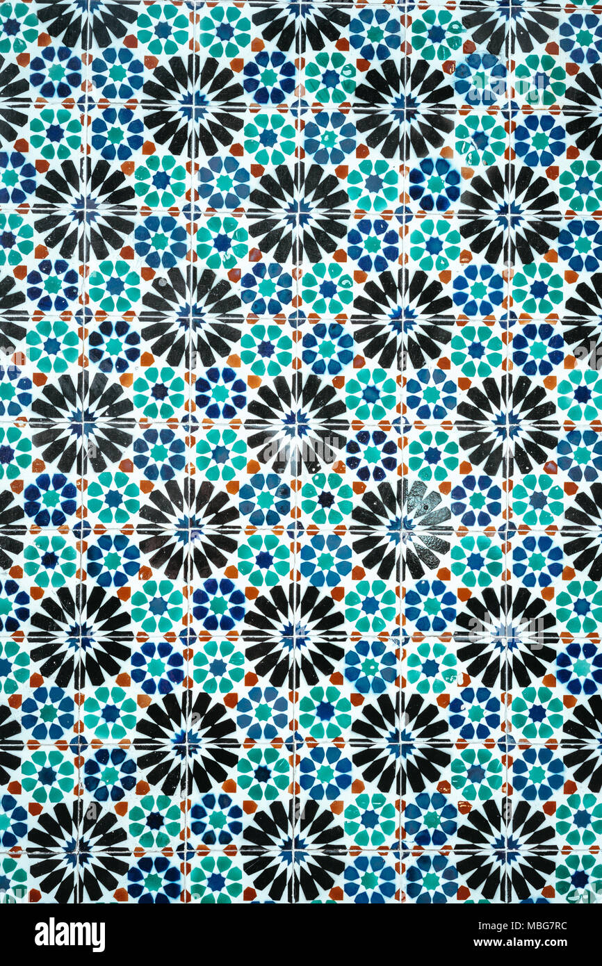 Traditional ornate portuguese decorative blue colored tiles azulejos - Stock Image