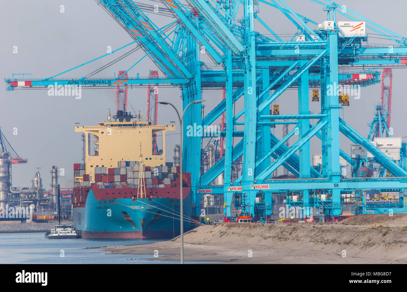 The seaport of Rotterdam, Netherlands, deep-sea port Maasvlakte 2, on an artificially created land area in front of the original coast, APM Container  - Stock Image