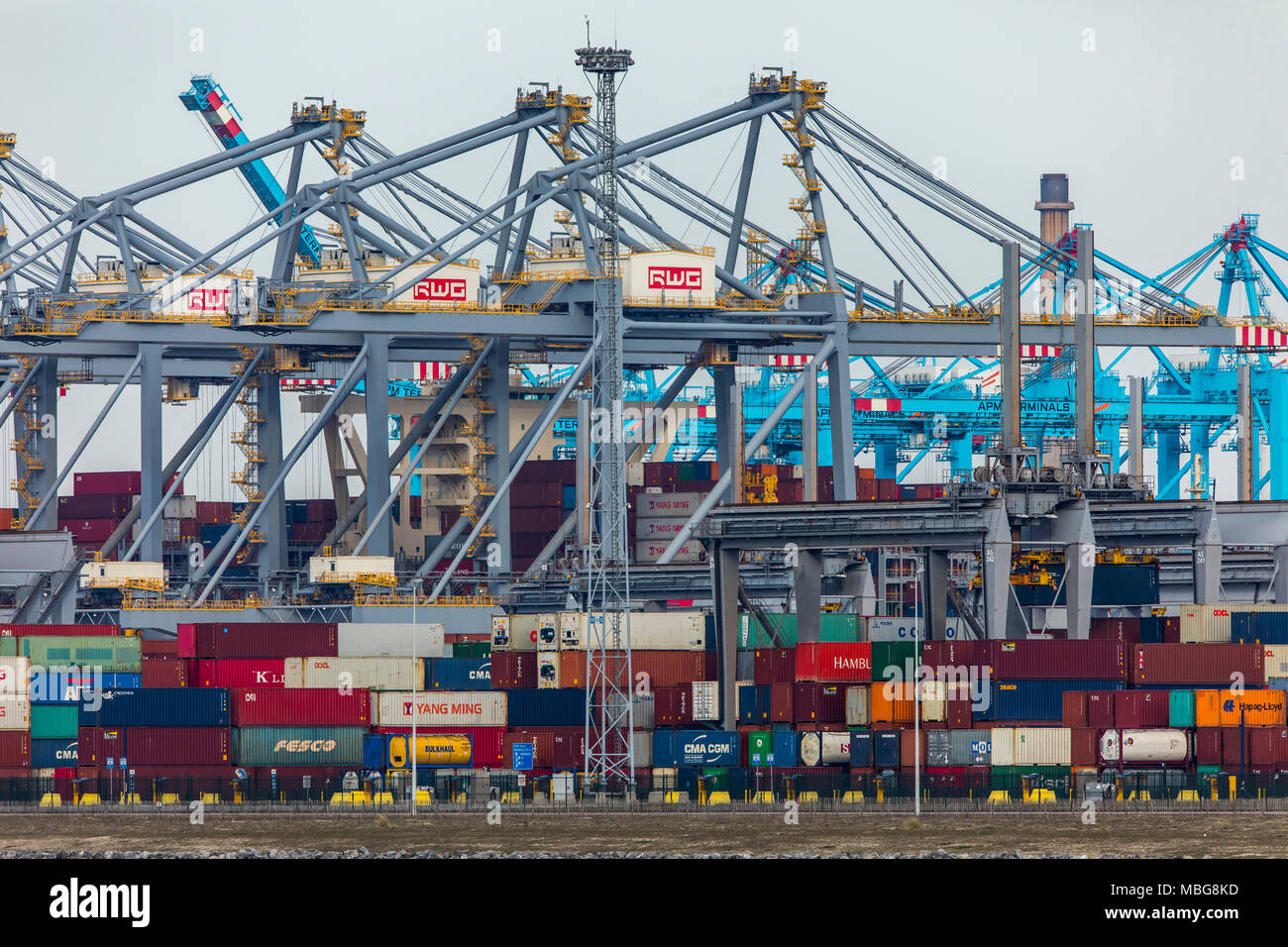 The seaport of Rotterdam, Netherlands, deep-sea port Maasvlakte 2, on an artificially created land area in front of the original coast, Rotterdam Worl Stock Photo