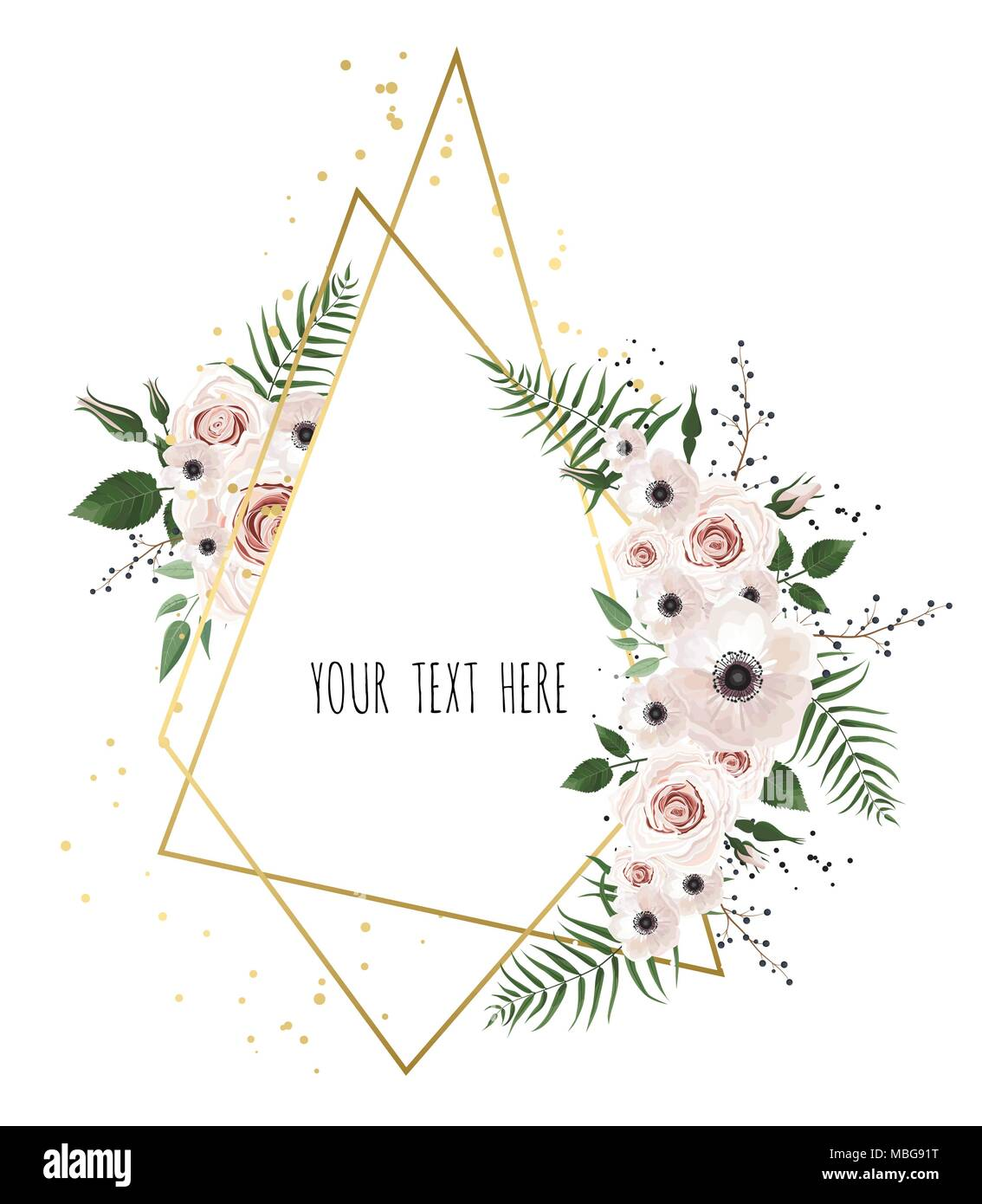 Vector floral design card greeting postcard wedding invite vector floral design card greeting postcard wedding invite template elegant frame with rose and anemone stopboris Image collections
