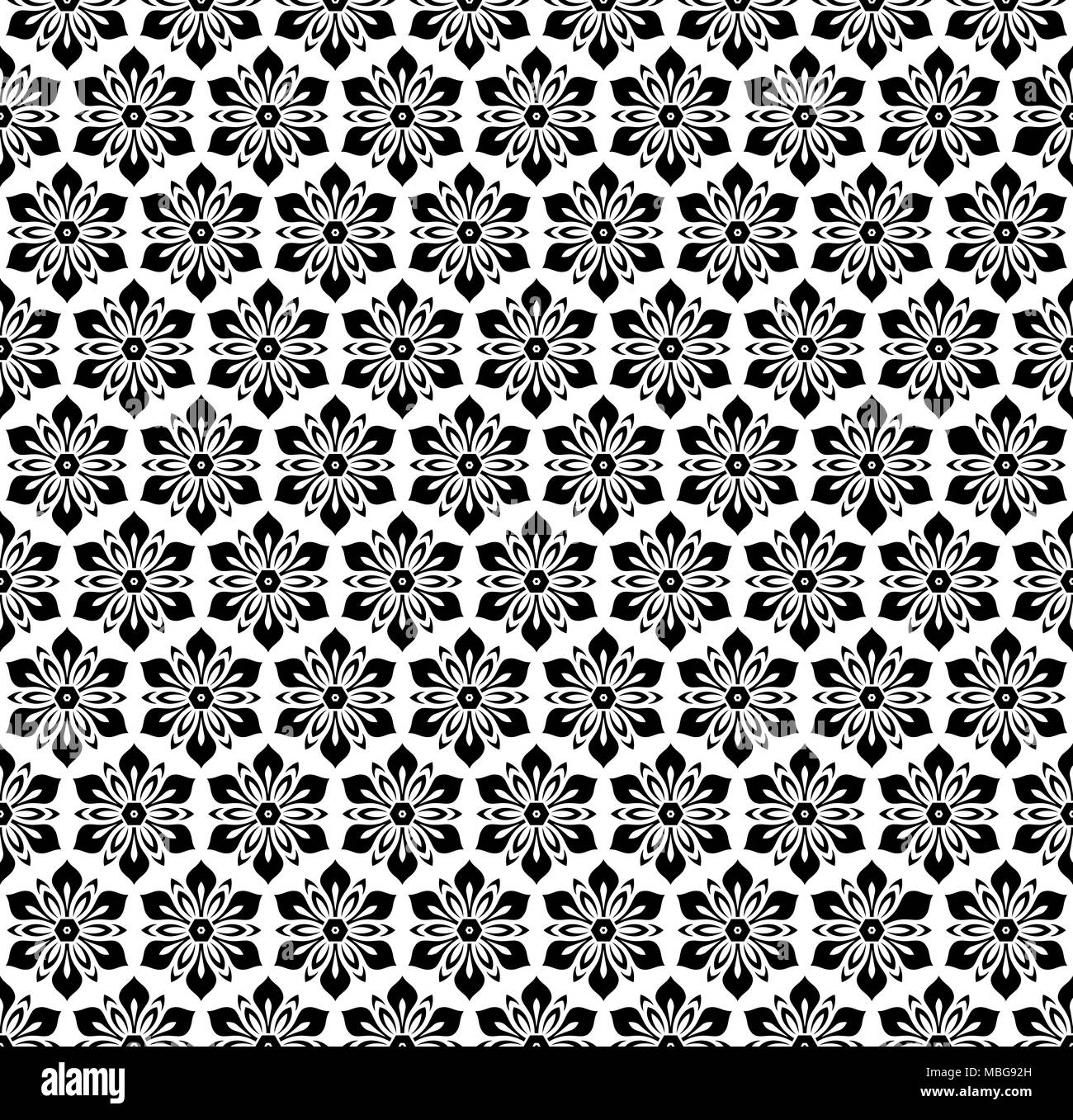 Floral Black And White Ornament Seamless Abstract Classic