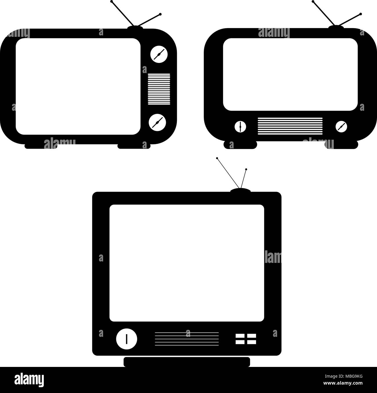 TV vector drawings. Flat style vector. Television icon, symbol isolated on white background, surface. - Stock Image
