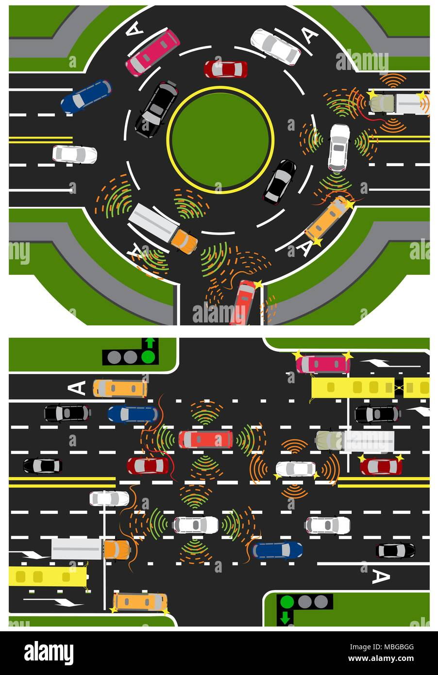 Movement of autonomous smart machines. Scanning roads, interaction. Automatic stops and traffic in a circle, crossing and along a straight road. illustration. Stock Vector