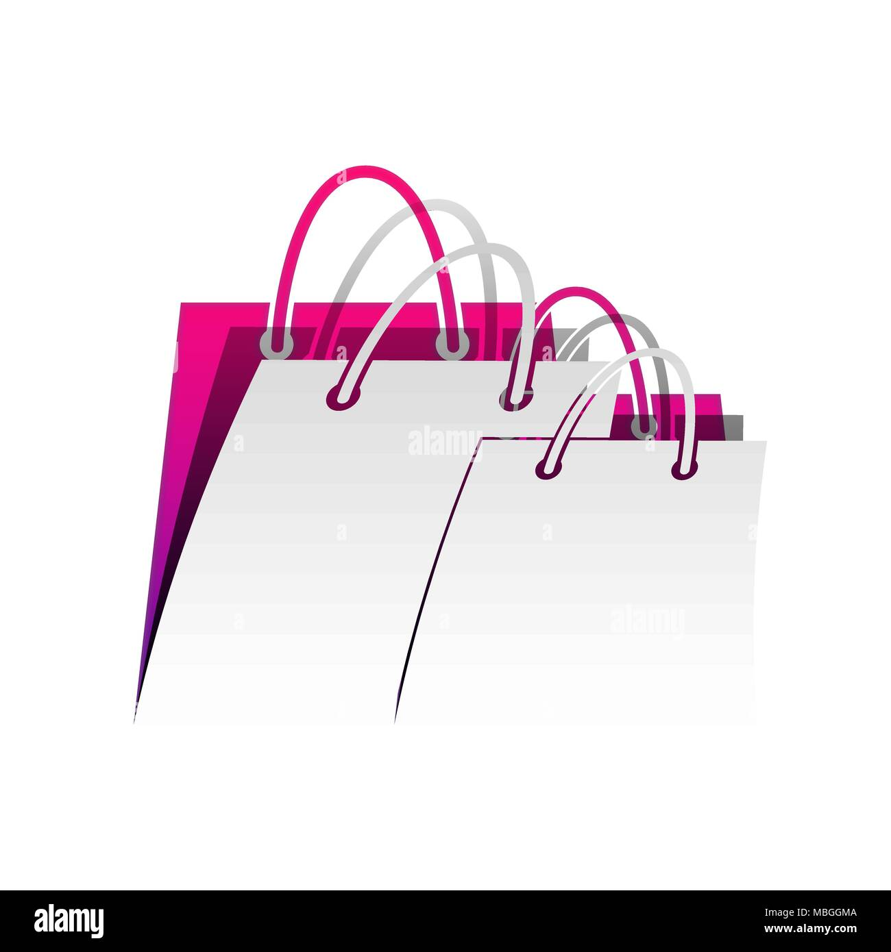 Shopping bags sign. Vector. Detachable paper with shadow at underlying layer with magenta-violet background. - Stock Image