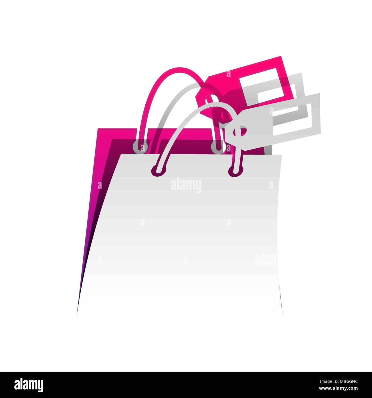 Shopping bag sign with tag. Vector. Detachable paper with shadow at underlying layer with magenta-violet background. - Stock Image