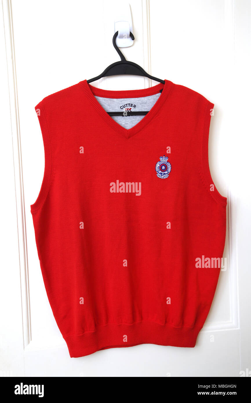 Royal Automobile Club (RAC)Red Tank Top Sweater vest - Stock Image