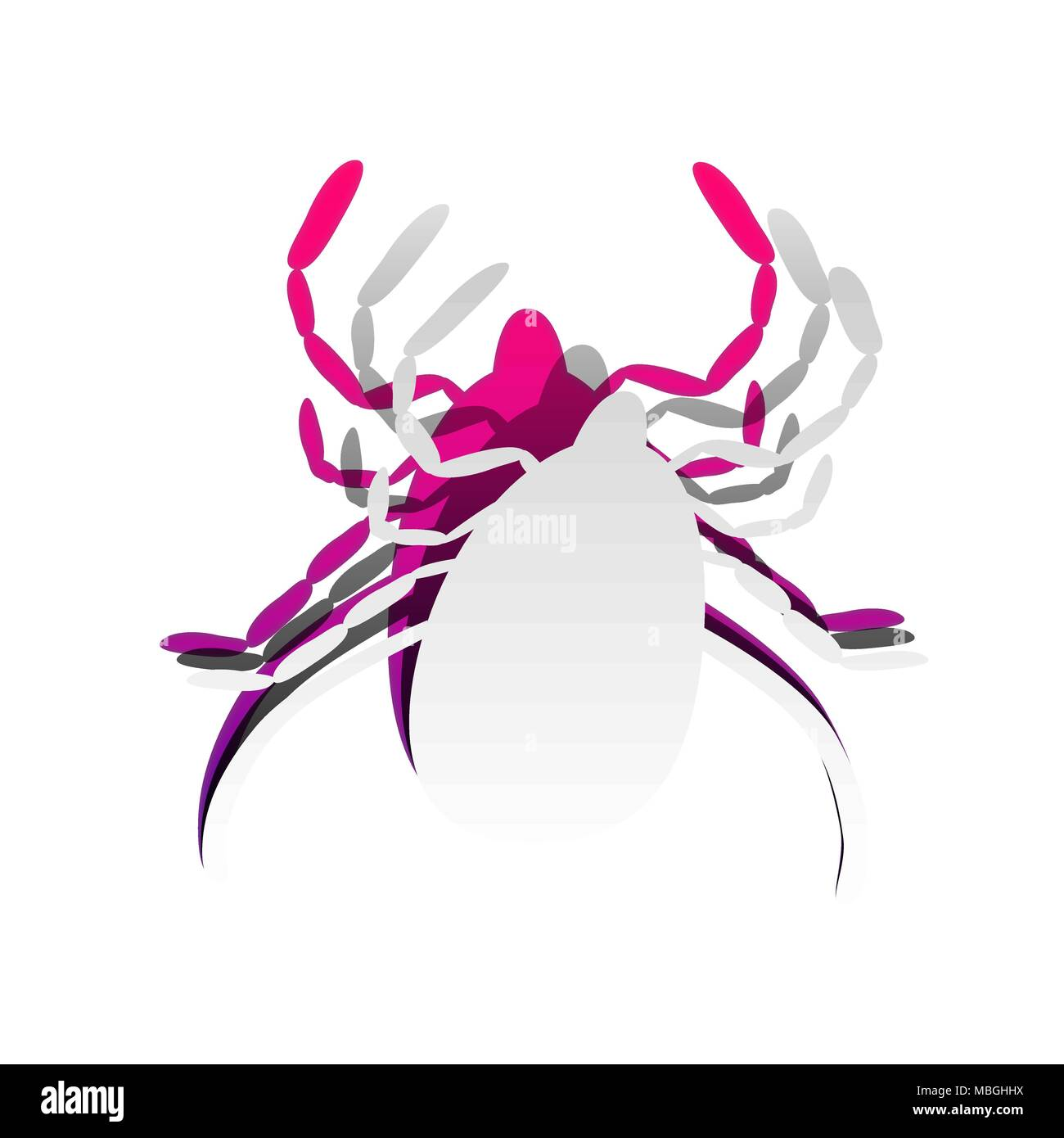 Dust mite sign illustration. Vector. Detachable paper with shadow at underlying layer with magenta-violet background. - Stock Image