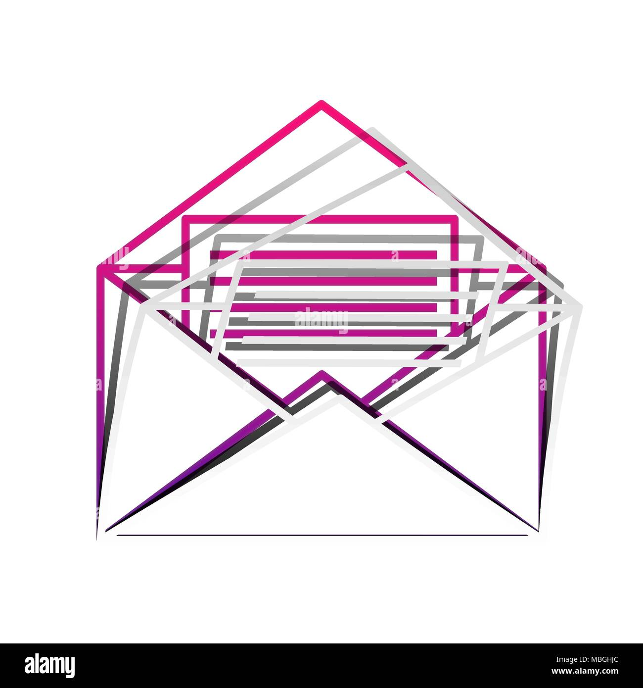 Letter in an envelope sign illustration. Vector. Detachable paper with shadow at underlying layer with magenta-violet background. - Stock Image