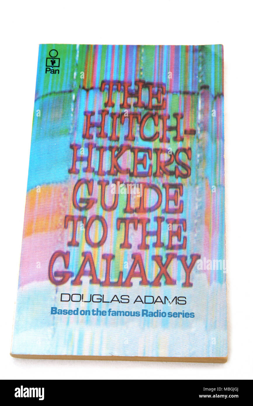The Hitchhikers Guide To The Galaxy By Douglas Adams Book - Stock Image
