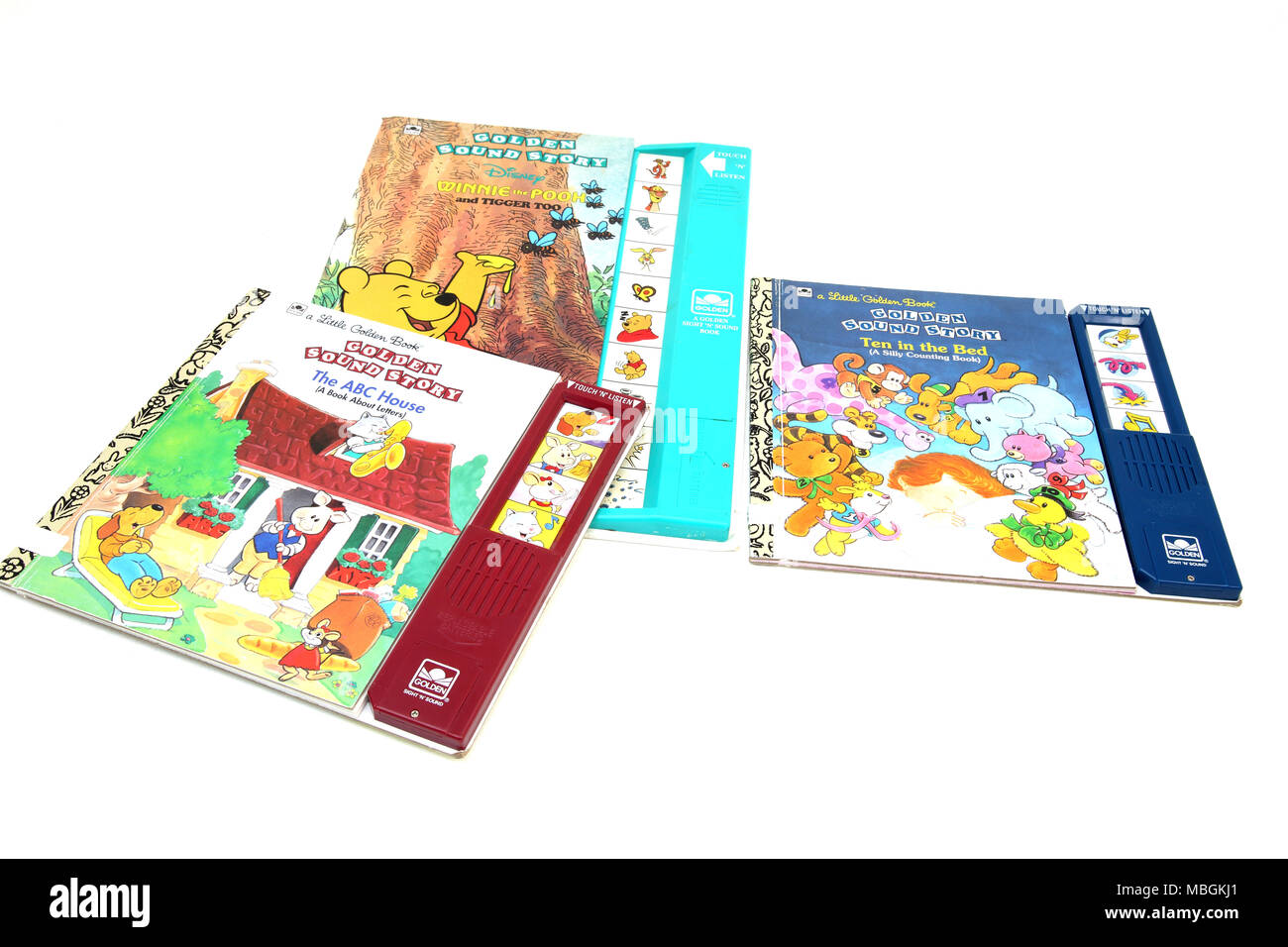 Children Golden Sound Story Books - Ten in a Bed, The ABC House and Disney Winnie the Pooh and Tigger Too - Stock Image