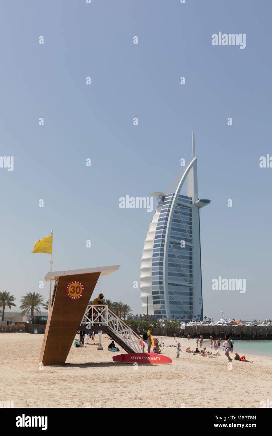Dubai, United Arab Emirates, March 27th 2018: View of Burj Al Arab Jumeirah from Jumeirah Beach - Stock Image