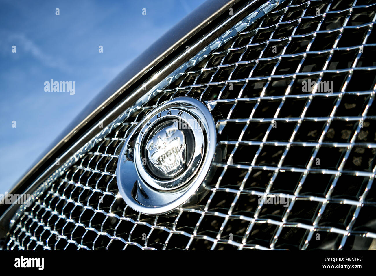 Jaguar car logo stock photos jaguar car logo stock images alamy jaguar logo at grill jaguar is a british multinational car manufacturer and is owned by biocorpaavc Gallery