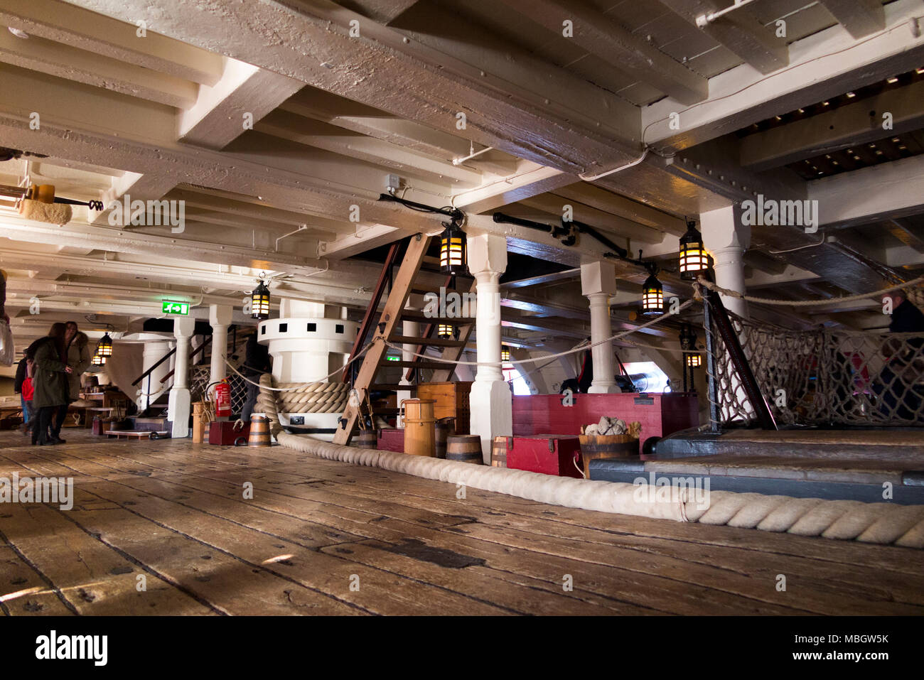 Middle section of gun deck of Admiral Lord Nelson 's flagship HMS Victory. Portsmouth Historic Dockyard / Dockyards UK (95) - Stock Image