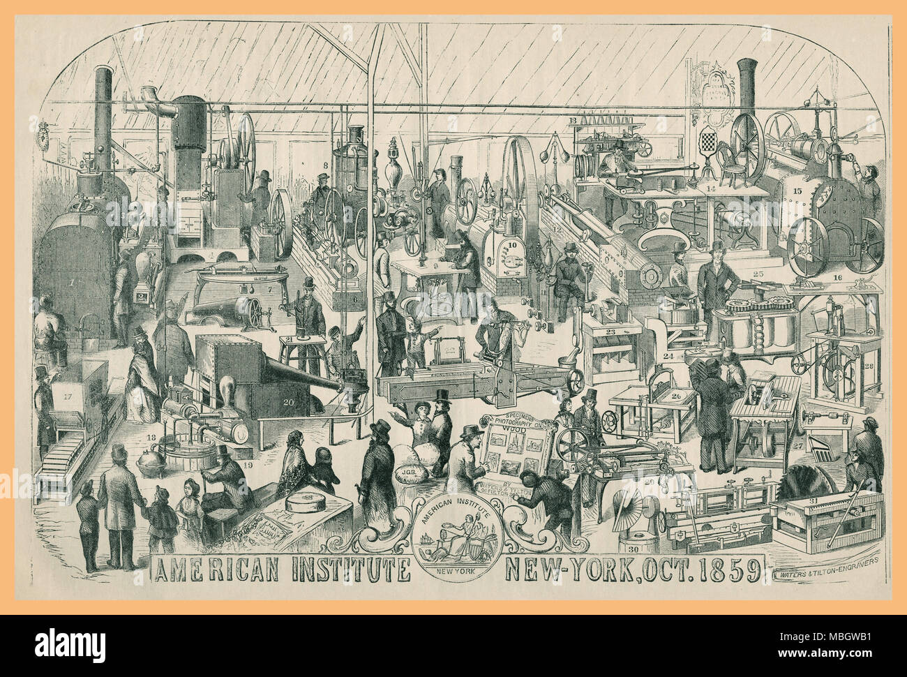 Mechanical Exhibition or Exposition 1859 Stock Photo