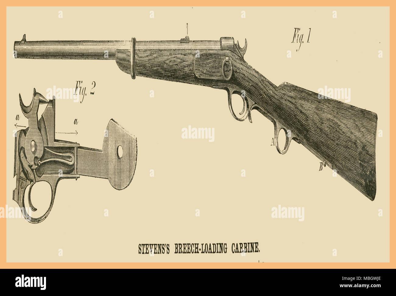 Steven's Breech Loading Carbine - Stock Image