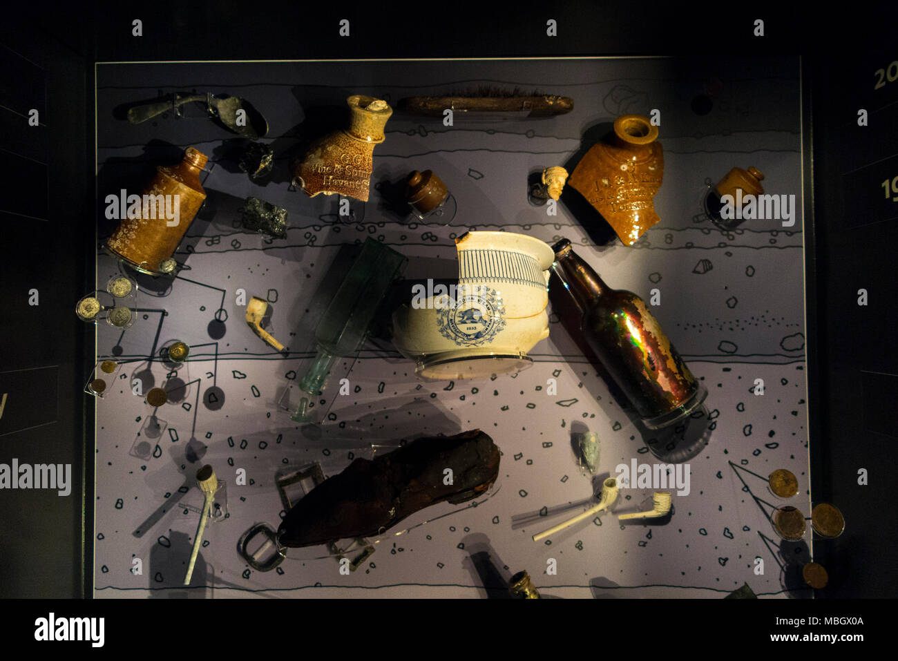 Remains & miscellaneous artefacts found about wreck of The Mary Rose, though not from the wreck and from different eras. The Mary Rose Museum, Portsmouth historic dockyard UK - Stock Image