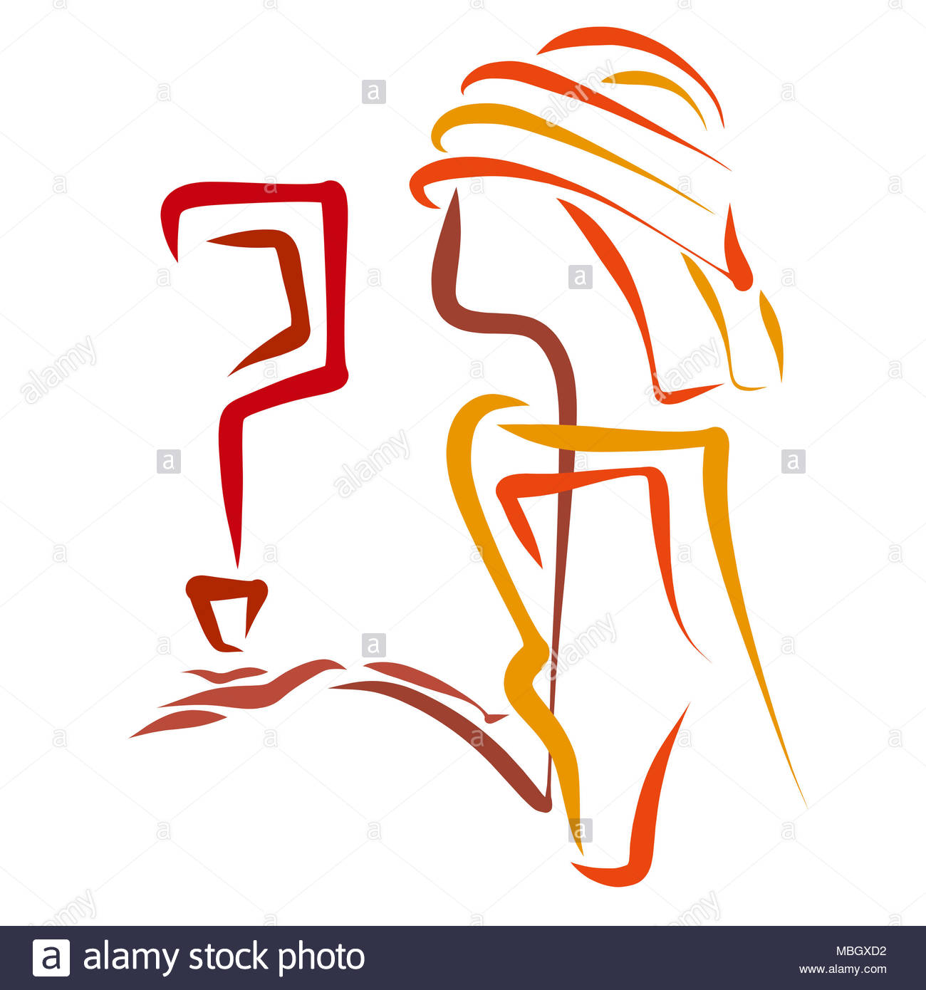 A man in an unusual headdress with a question mark in his hand - Stock Image
