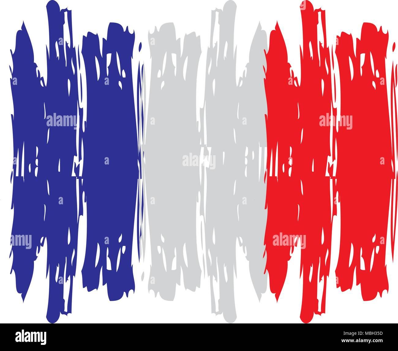 french flag national emblem grunge - Stock Image