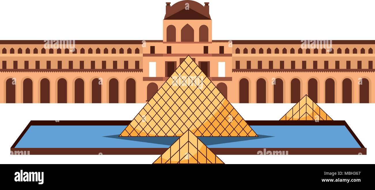 louvre museum art architecture monumnet paris france - Stock Image