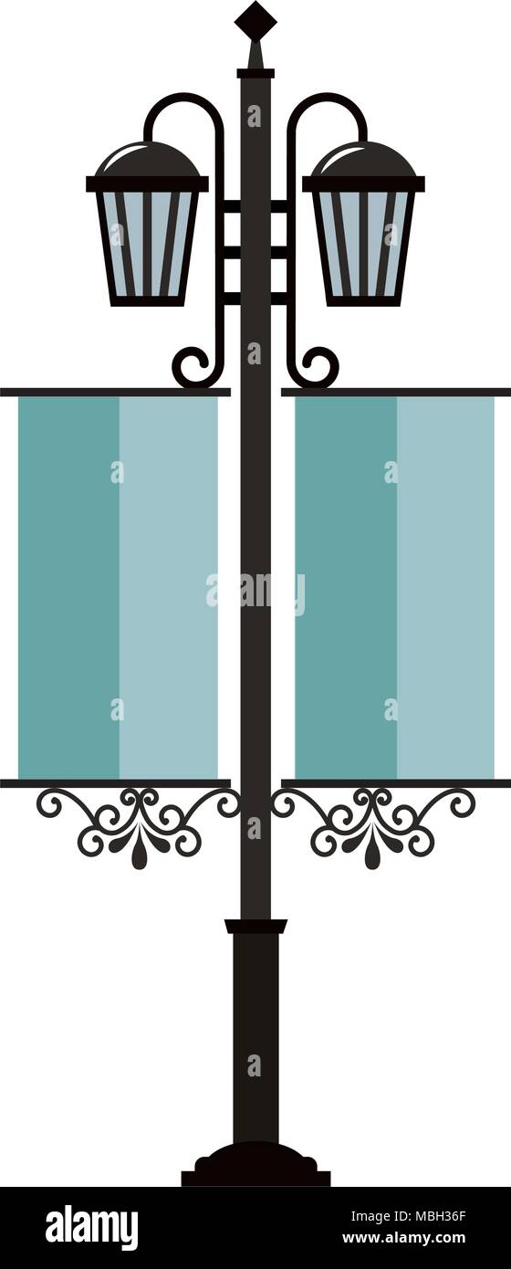 street lamps vintage pennants image Stock Vector