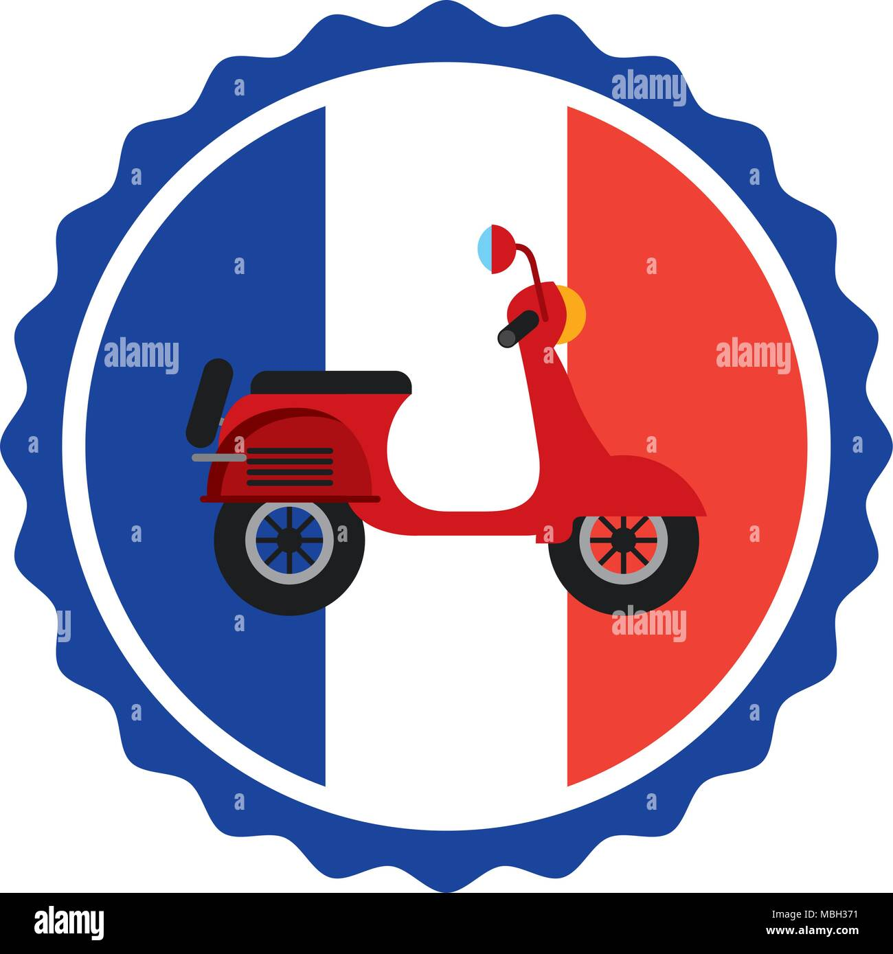 vintage label flag french and red scooter - Stock Image