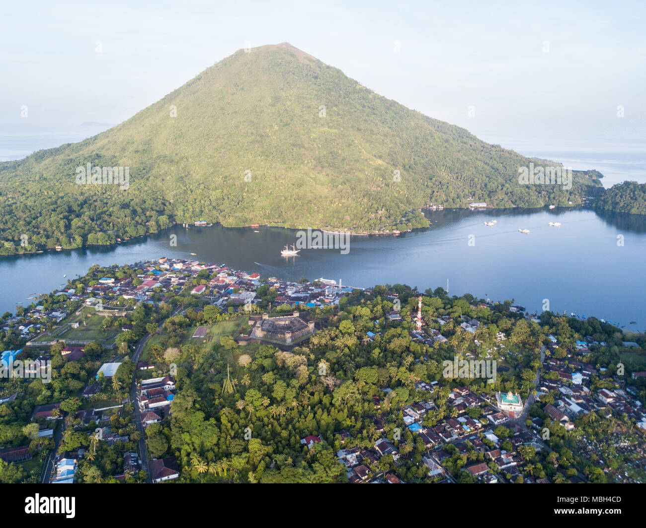 The famous and remote Banda Islands are home to amazing reefs in the Banda Sea. This region is in the Coral Triangle and has high marine biodiversity. Stock Photo