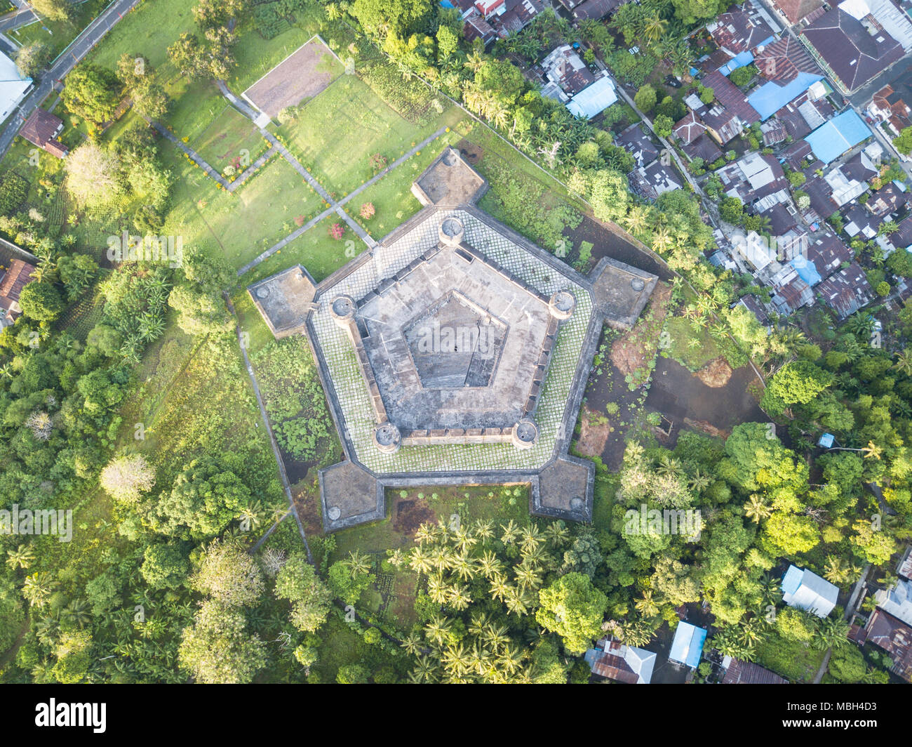 Fort Nassau was built by the Dutch on Banda Neira in the Banda Sea. This remote region is in the Coral Triangle and has high marine biodiversity. Stock Photo