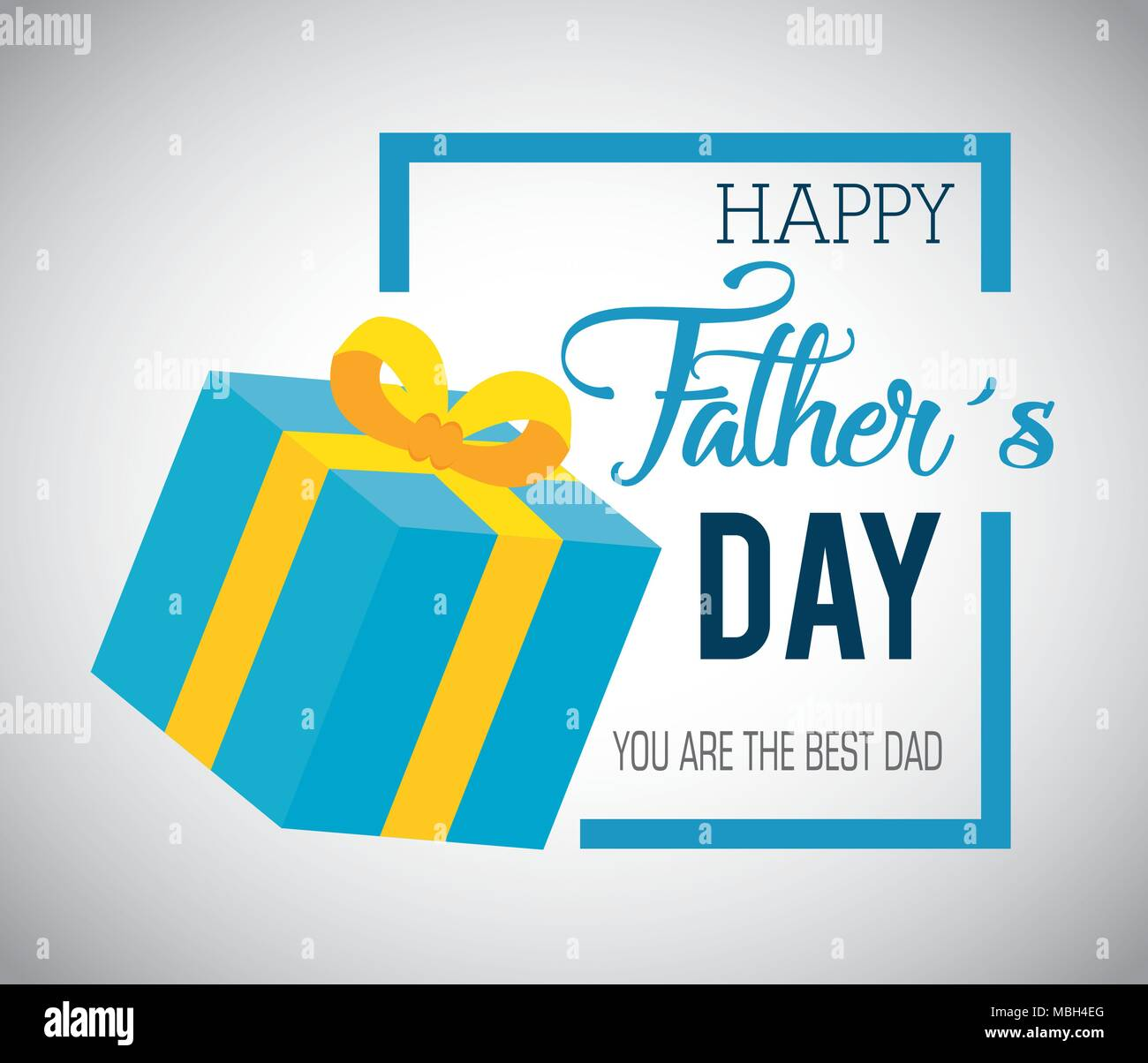 Happy Fathers Day Card With Gift Stock Vector Art Illustration