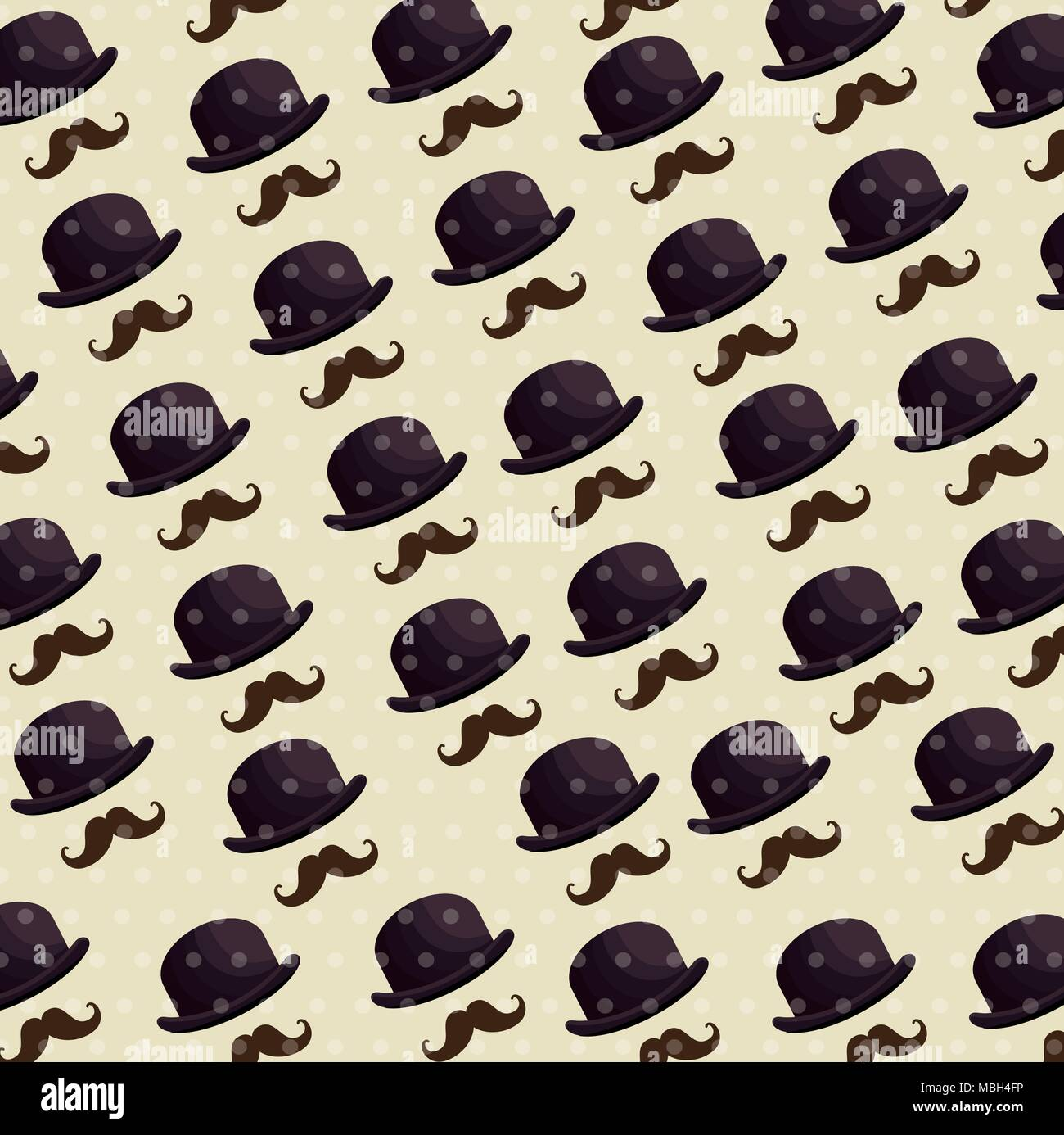 hat and mustache pattern background - Stock Image