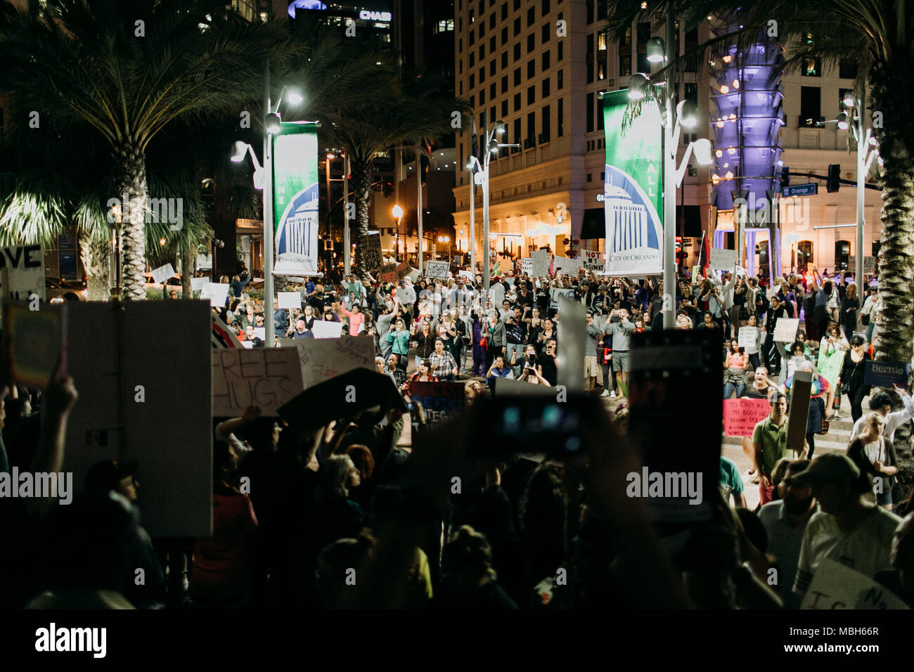 Anti-Trump Peaceful Protest in Downtown Orlando (2016). - Stock Image