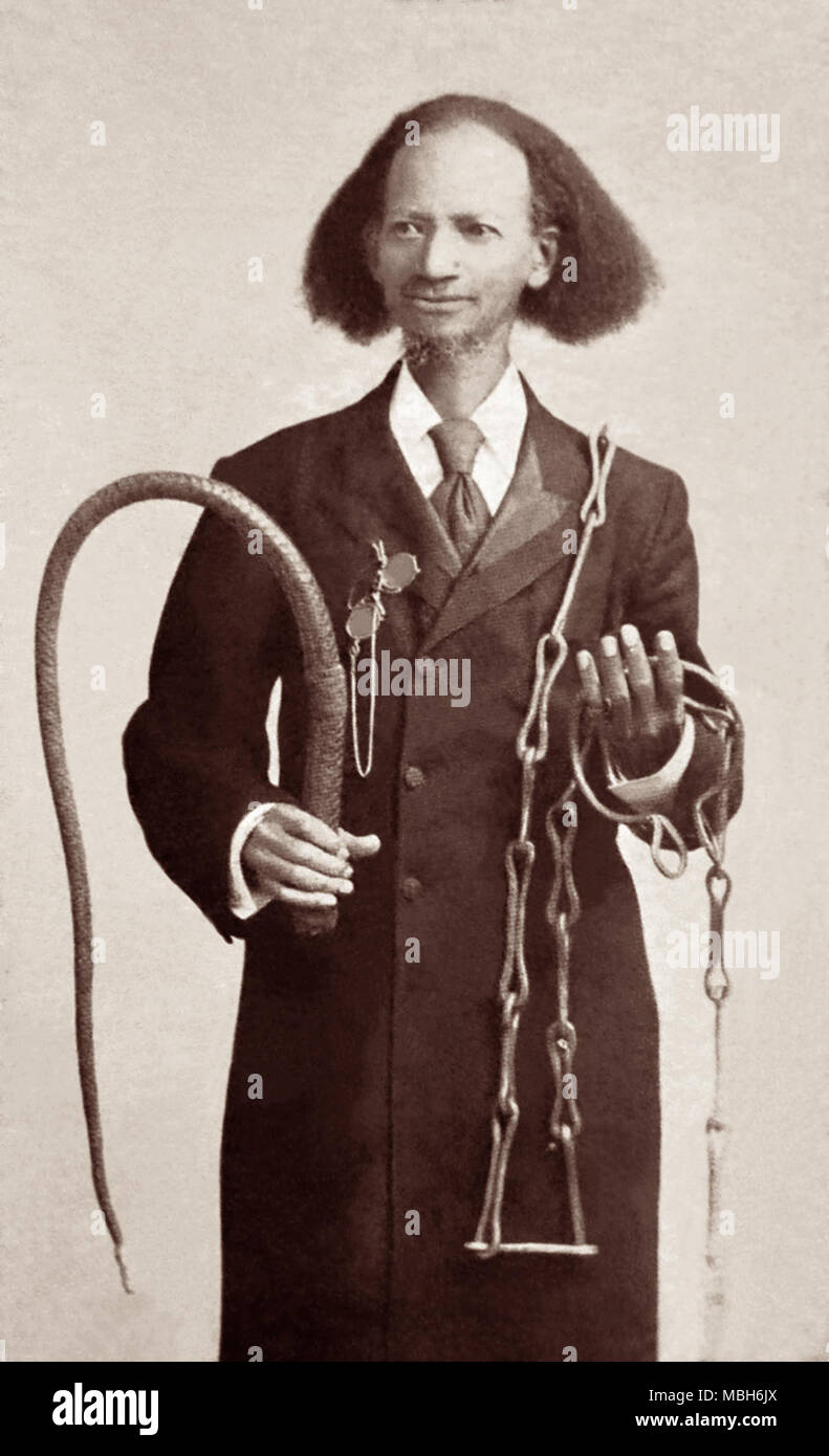 Ex-slave Thomas Lewis Johnson (1836-1921), pictured with a lash and slave chains, was a Christian missionary to Africa in 1878 after receiving his freedom following the American Civil War. Johnson served for a while as a missionary in Colorado and then in 1876 travelled with his wife to England, where he became a student and friend of world-renowned Baptist minister Charles H. Spurgeon. Johnson wrote of his time as a slave and as a missionary in his autobiographical work, Twenty-Eight Years a Slave. - Stock Image
