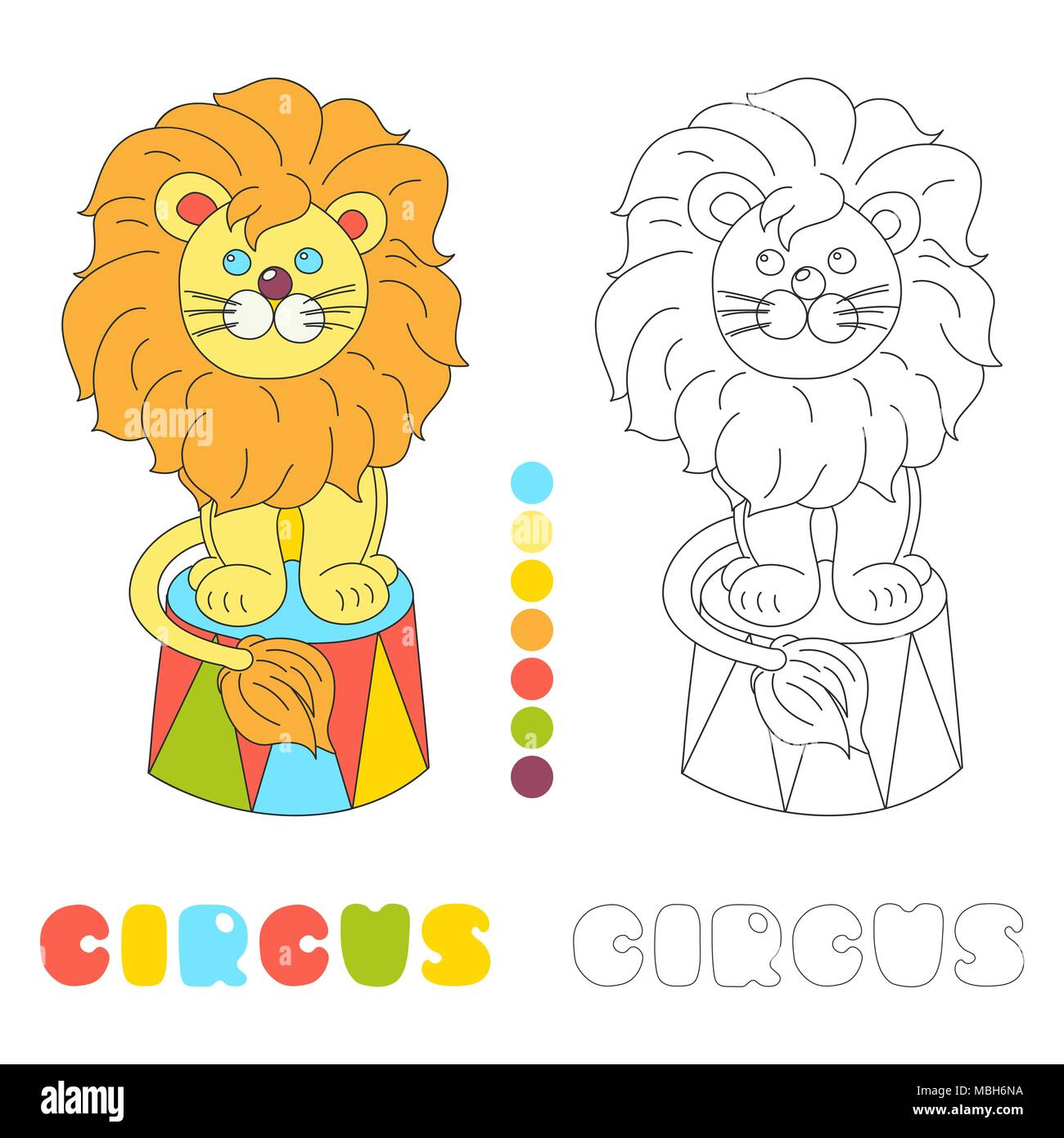 Funny Lion Sitting In A Circus Arena Vector Character Children Coloring Book Page