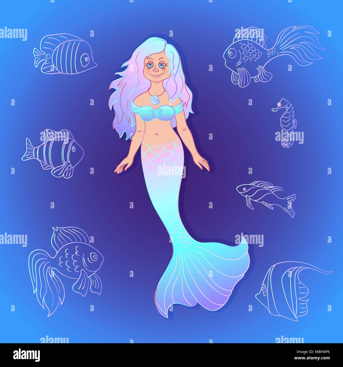 Vector Pretty Little Siren Mermaid With Silhouette Sea Fishes On The Ocean Water Background Cartoon Style