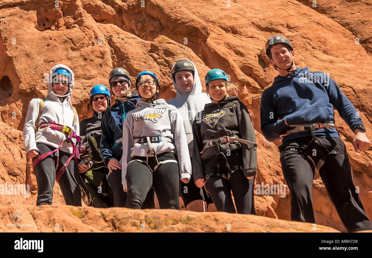 Team Schriever members gather during a Rec On rock climbing trip at Garden of the Gods, Colorado Springs, Colorado, March 16, 2018. Rec On hosts a variety of outdoor events, including a Hot Air Balloon ride scheduled for April 14. Stock Photo