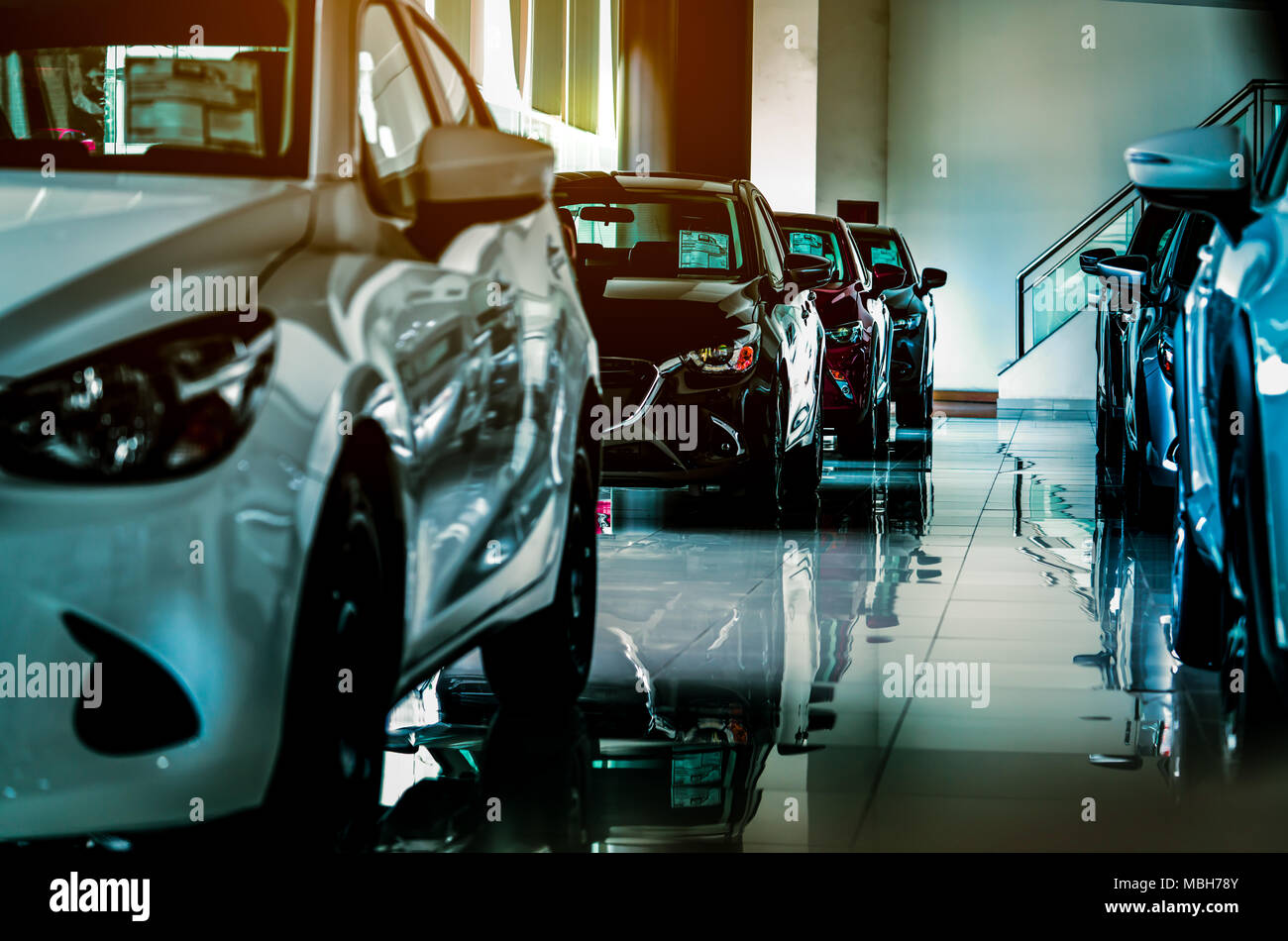 New Luxury Compact Car Parked In Modern Showroom For Sale Car Dealership Office Car Retail Shop Stock Photo Alamy