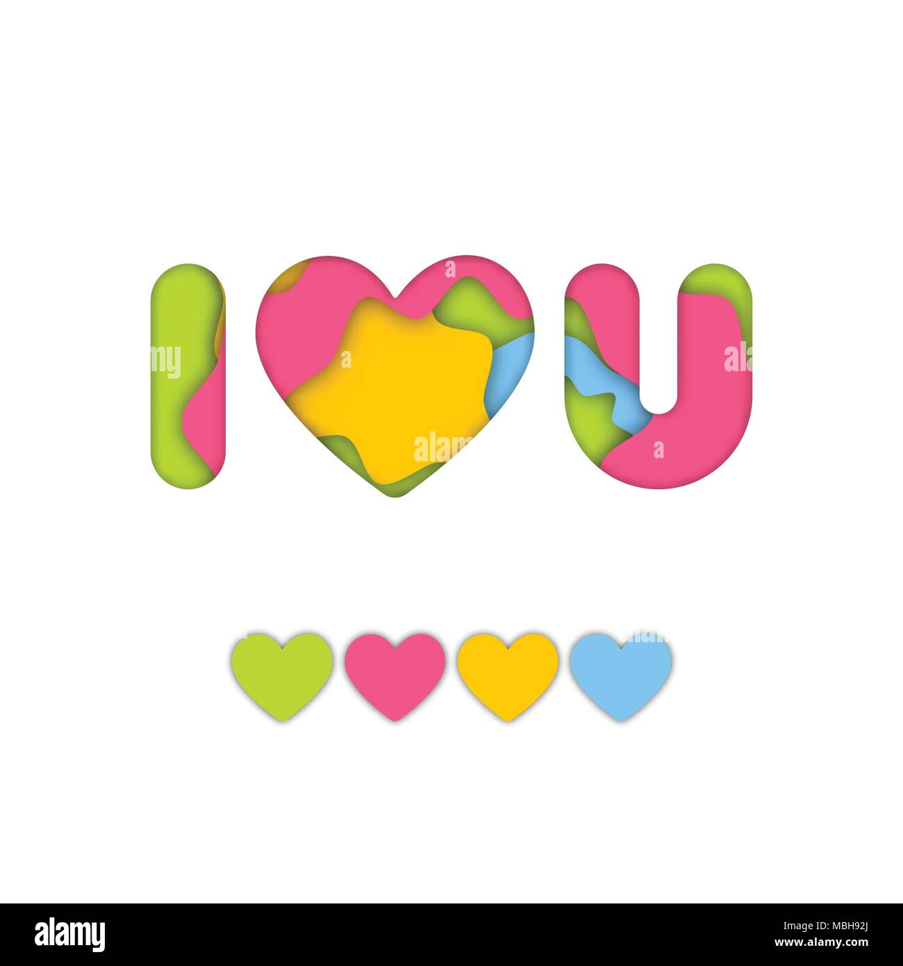 Colorful Art Paper Craft Of I Love You Word For Valentine Graphic