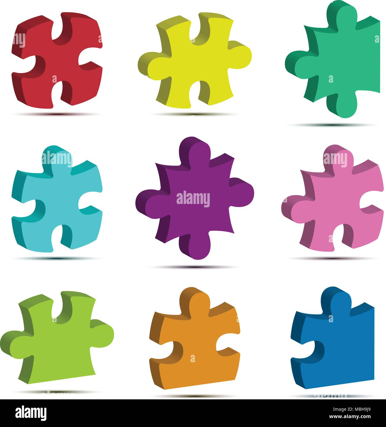 Colorful 3d Jigsaw Puzzle Icon Vector For Business Idea Graphic Design Concept