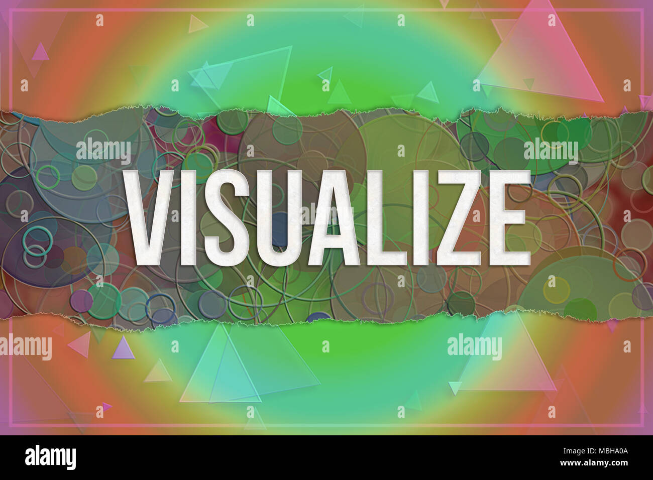 Visualize, information technology conceptual words with colorful shapes pattern as background for web page, graphic design, catalog or wallpaper. - Stock Image