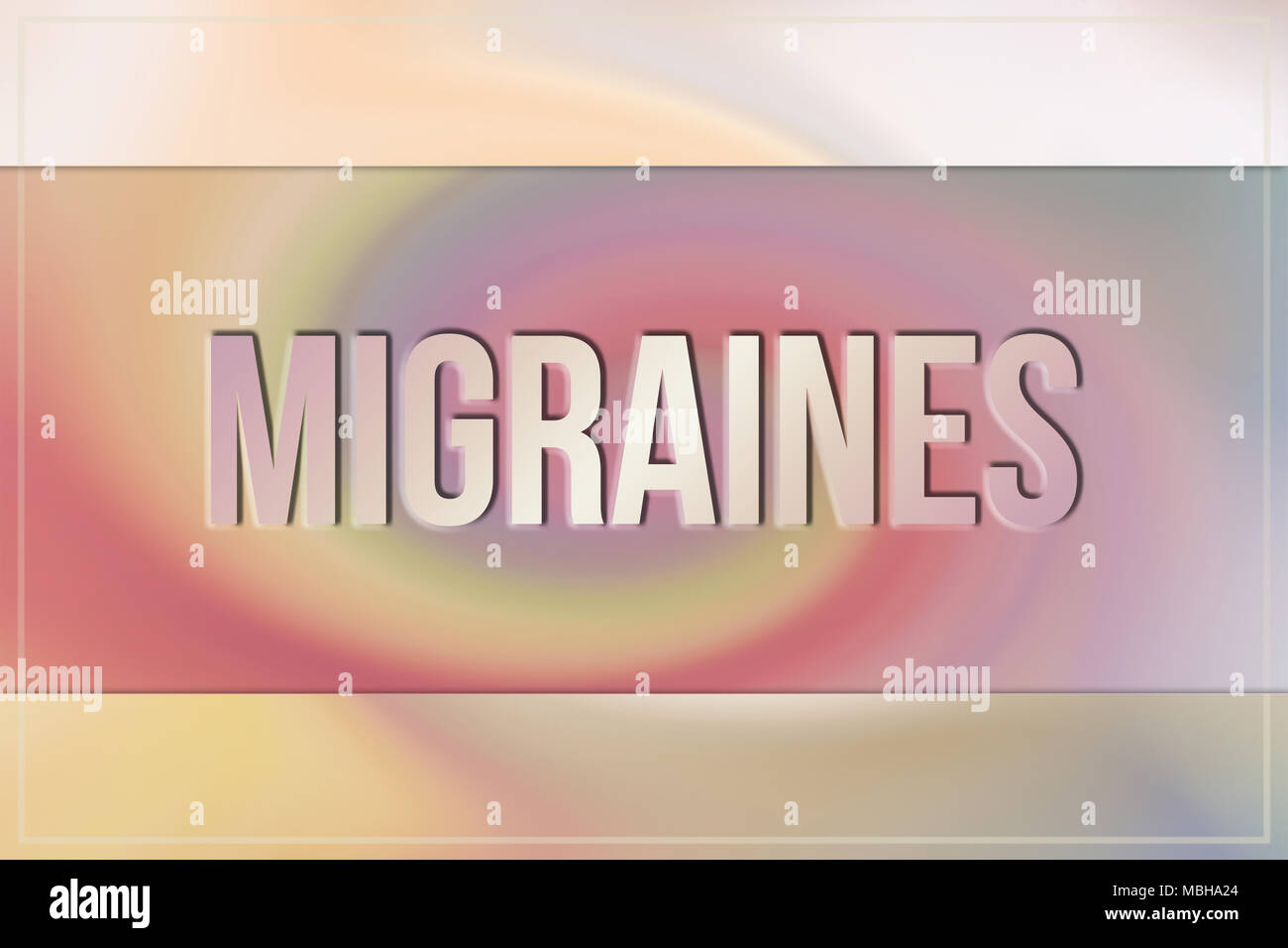 Migraines, medical & medication conceptual words, with twirl & colorful as background for web page, graphic design, catalog or wallpaper. - Stock Image