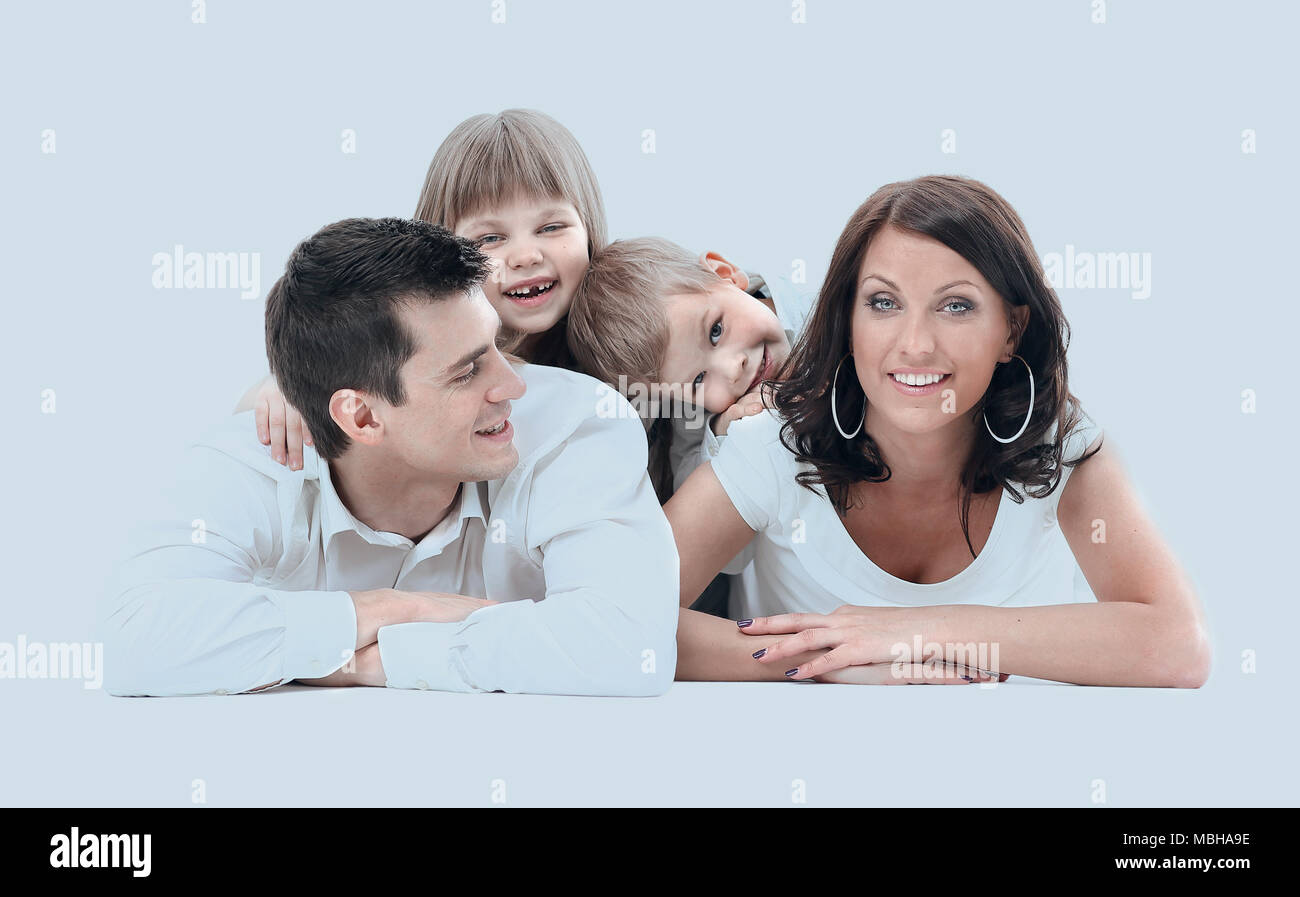 Portrait of a happy four-member family. Stock Photo
