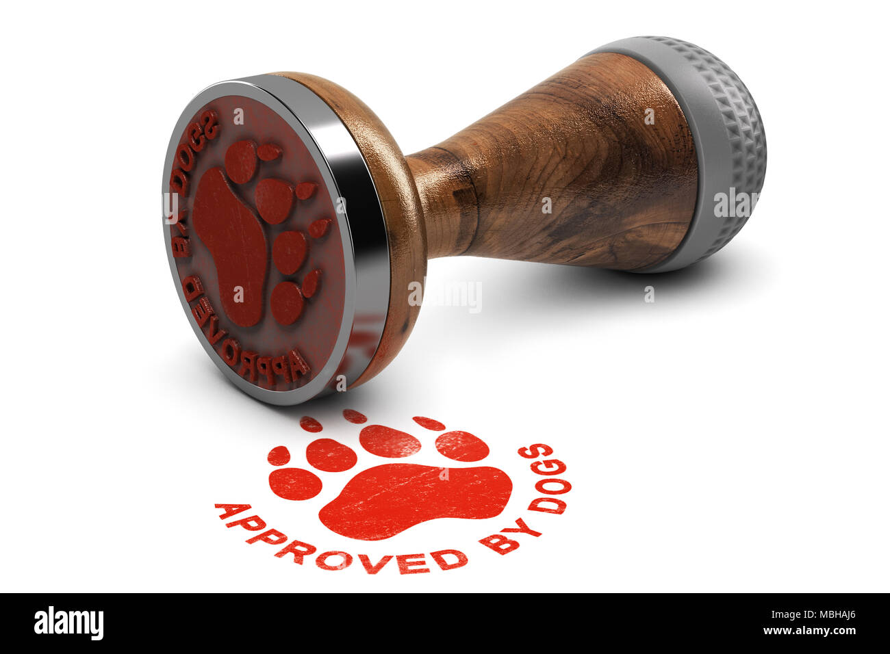 Rubber stamp with the text approved by dogs over white background. 3D illustration. Concept of pets grooming or training satisfaction - Stock Image