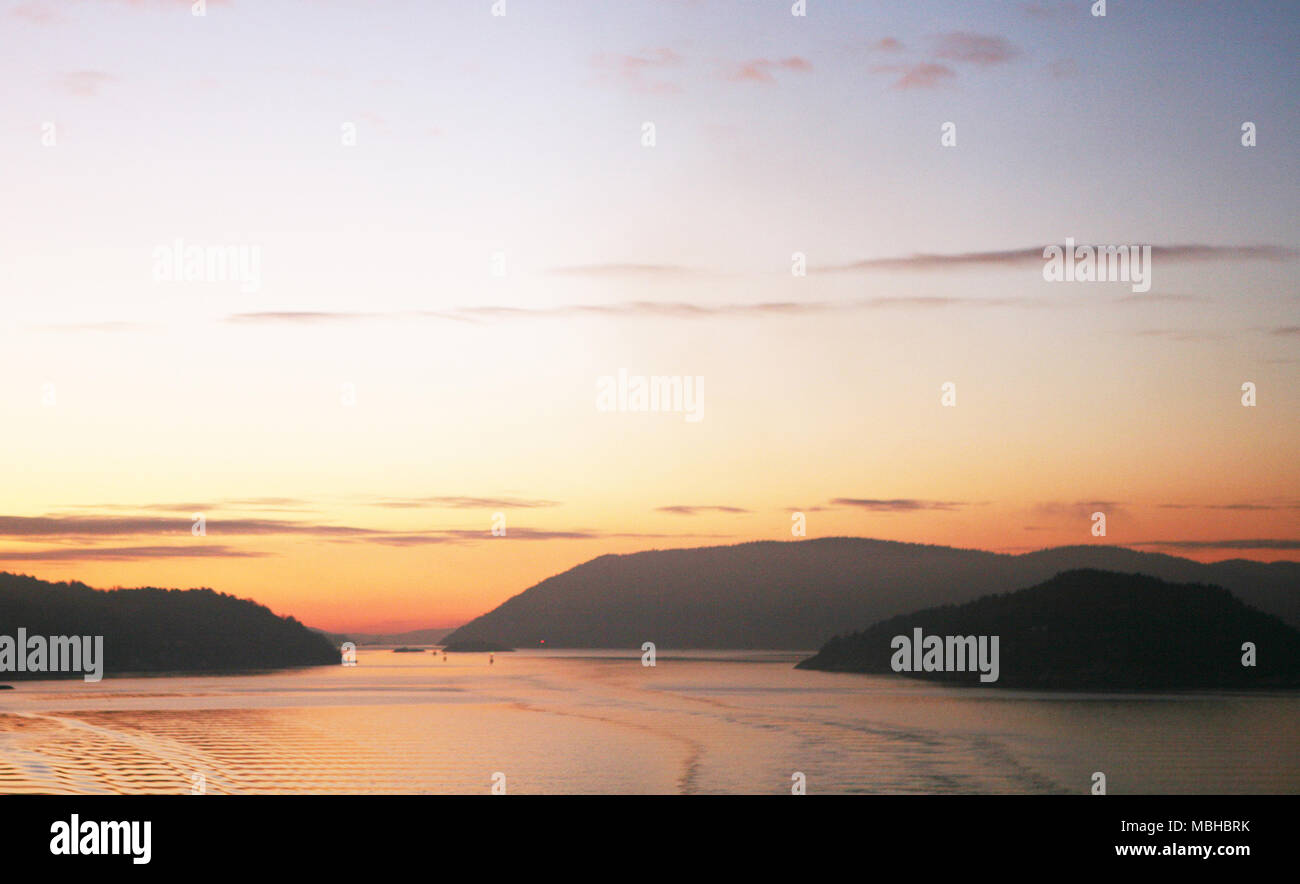 Sunset over the Oslo fjord, Norway - Stock Image