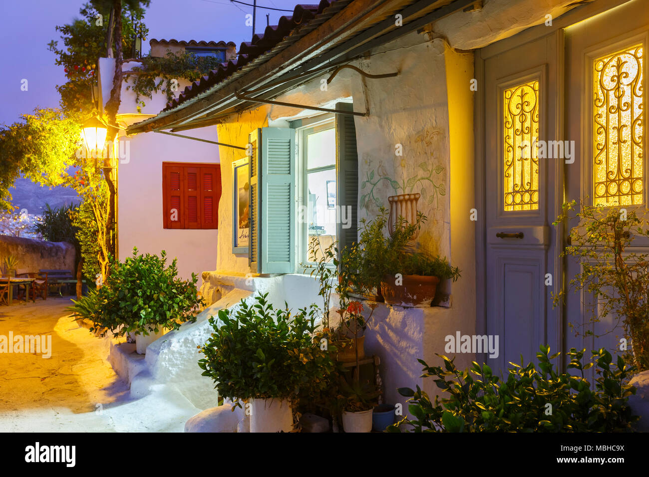 Houses in Anafiotika neighborhood of Athens in Greece. - Stock Image