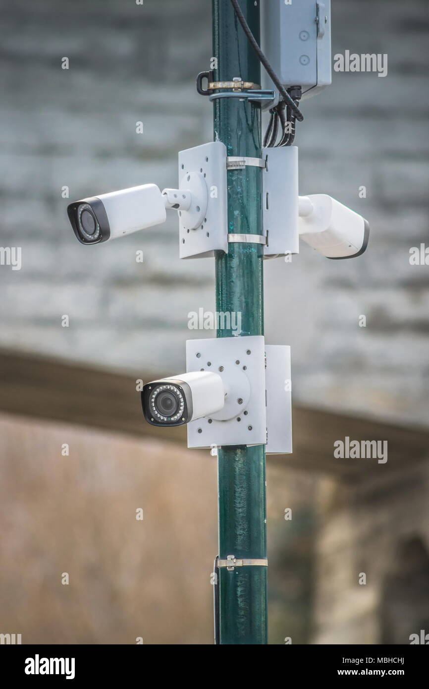 Close up image of CCTV cameras on the street. - Stock Image