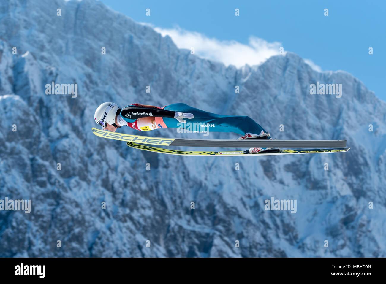 PLANICA, SLOVENIA - MARCH 24 2018 : Fis World Cup Ski Jumping Final - AMMANN Simon SUI - Stock Image