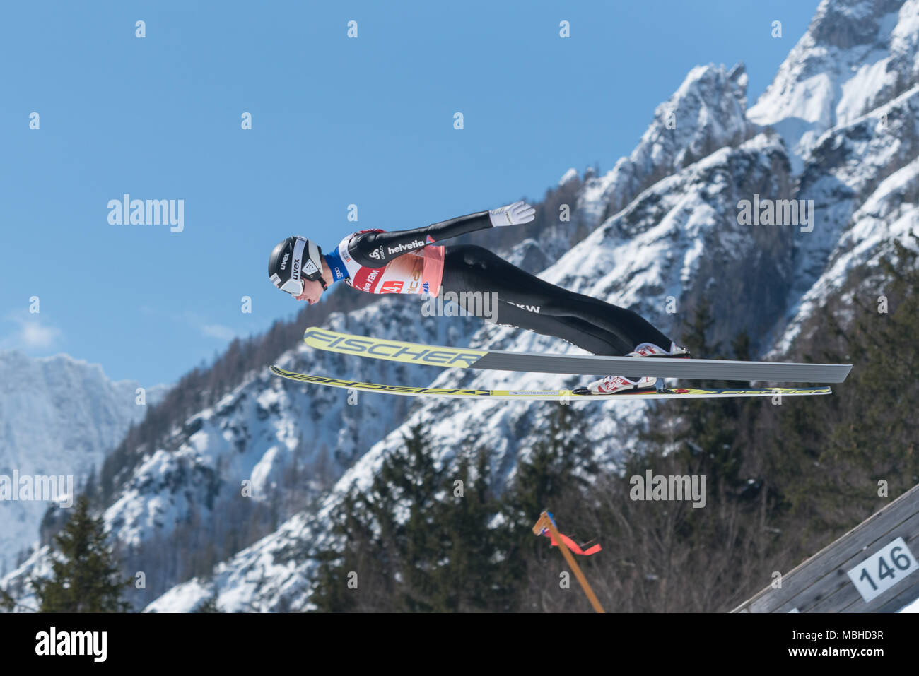 PLANICA, SLOVENIA - MARCH 24 2018 : Fis World Cup Ski Jumping Final - SCHULER Andreas SUI - Stock Image